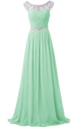 Crystal-beaded Illusion Neckline A-line Gown With Keyhole Back