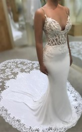 Sexy Plunging Spaghetti Lace Bridal Gown With Cathedral Train