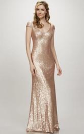 Maxi Cap Sleeve V-Neck Sequin Bridesmaid Dress