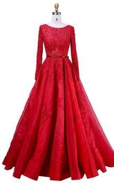 Scoop Neck Long Sleeve A-line Lace Dress