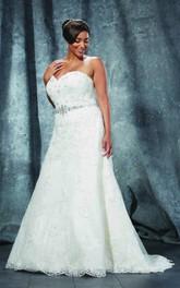 A-Line Floor-Length Sweetheart Sleeveless Lace Sweep Train Lace-Up Back Waist Jewellery Dress