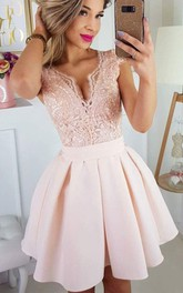 Satin Lace Short A Line Cap Short Sleeve Casual Homecoming Dress with Pleats