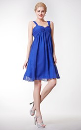 Strapped Sweetheart Empire Chiffon A-line Knee Length Dress