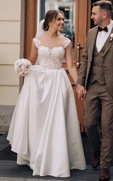 Satin Lace Floor-length Brush Train A Line Sleeveless Casual Wedding Dress