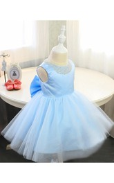 Scoop Beading Neck Sleeveless A-line Knee Length Pleated Tulle Dress With Bow