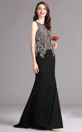 Sheath Floor-Length Jewel Sleeveless Jersey Beading Keyhole Dress