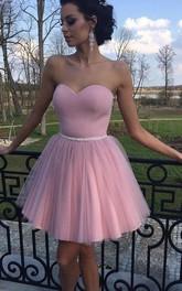 A-line Sleeveless Satin Tulle Sweetheart Short Mini Homecoming Dress