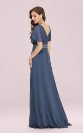 Elegant Chiffon V-neck A Line Short Sleeve Prom Mother Dress With Ruffles