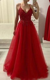 Tulle Floor-length A Line Sleeveless Romantic Prom Dress with Beading and Ruffles