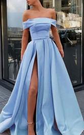 Satin Floor-length Sweep Train A Line Sleeveless Modern Prom Dress with Ruffles