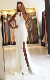 Spandex Floor-length Brush Train Mermaid Sleeveless Modern Formal Dress