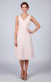 V Back V Back A-line Chiffon Short Dress Pale Pink