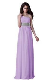 One-shoulder Pleated Chiffon A-line Gown With Beaded Band