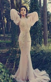 Modern High Neck Long Sleeve Mermaid Prom Dress With Lace Appliques