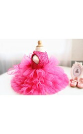 High Neck Sleeveless Tiered Tulle Short Dress With Lace Bodice