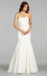 Elegant Strapless Draped Bodice Long Lace Dress With Peplum