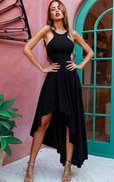 Casual Jersey A Line Halter Sleeveless Formal Cocktail Dress With Straps
