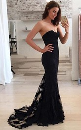 Lace Floor-length Sweep Train Trumpet Sleeveless Sexy Prom Dress