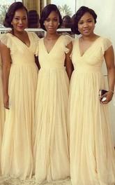 Cap-sleeved V-neck A-line Long Chiffon Dress