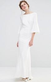 Ankle-Length Sheath Puff Sleeve Bateau Neck Chiffon Bridesmaid Dress