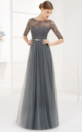 Bateau Half Sleeve Tulle Long Prom Dress With Lace Top And Crystal Waist