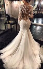 Mermaid V-neck Long Sleeves Lace Court Train Tulle Wedding Dresses