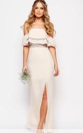 Sheath Ankle-Length Strapless Beaded Chiffon Bridesmaid Dress