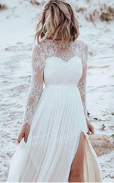 Simple A Line Bateau Tulle Lace Floor-length Long Sleeve Wedding Dress with Split Front and Pleats