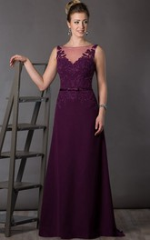 A-Line Floor-Length Bateau Sleeveless Chiffon Appliques Sweep Brush Train Deep-V Back Dress