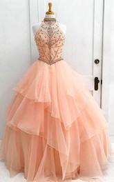 Ball Gown Organza High Neck Sleeveless Keyhole Dress