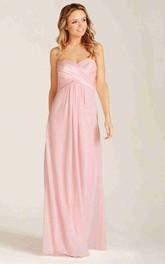 Criss-Cross Sweetheart Sleeveless Chiffon Bridesmaid Dress