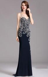 Sheath Sweep Sweetheart Sleeveless Jersey Beading Illusion Dress