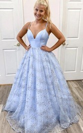 Tulle Floor-length A Line Sleeveless Sexy Formal Dress with Ruffles and Sequins