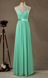 Strapped Sweetheart Chiffon&Satin Dress