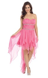 A-Line High-Low Sweetheart Sleeveless Chiffon Dress With Beading And Pleats