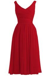 Elegant Sleeveless Basque Waist Chiffon Dress