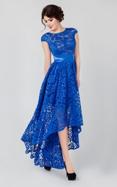 A-line High-low High Neck Short Sleeve Lace Low-V Back Dress