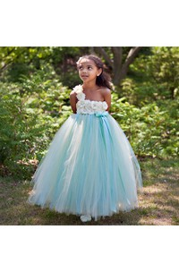 Floral One-shoulder Empire Tulle Ball Gown With Sash