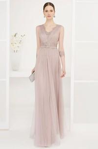 Sheath Sleeveless Beaded Floor-Length V-Neck Tulle Prom Dress