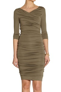 V Neck V Back 3-4 Sleeve Sheath Jersey Short Dress With Ruching