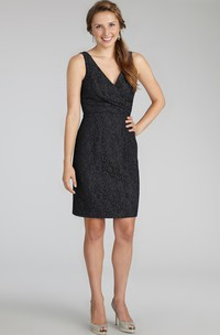 Dainty Sleeveless Mini Lace Dress with V-neck and V-neck