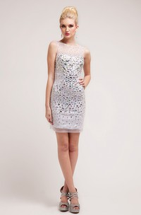 Pencil Short Bateau Sleeveless Dress With Crystal Detailing