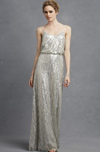 Sequined Chic Long A-Line Dress With Spaghetti Straps