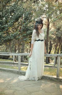 Scoop Half Illusion Sleeve Lace Wedding Dress With Sash And Button Back