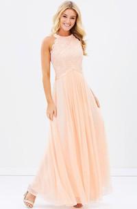 Sleeveless Appliqued Scoop Neck Chiffon Bridesmaid Dress With Ribbon