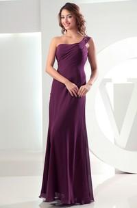 Adorable Chiffon Sleeveless Floor-Length Dress With Ruching