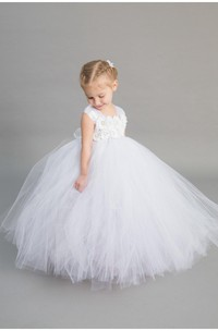 Cap Sleeve Floral Top Tiered Tulle Ball Gown With Sash