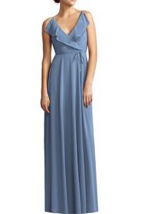 V-neck Wrap Bodice Chiffon Long Bridesmaid Dress with Sash