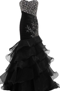 Sweetheart Trumpet Gown With Sequins and Ruffles