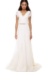 Long Low-V Neckline A-line Lace Dress With Low-V Back Style